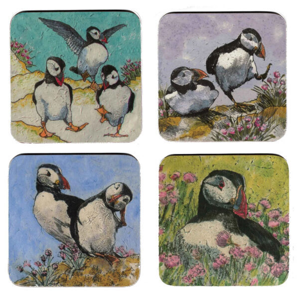 Puffin Coasters by Annabel Langrish